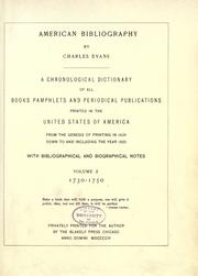 Cover of: American bibliography
