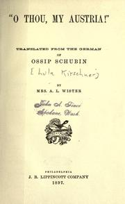 "Cover of: ""O thou, my Austria!"""