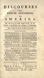 Discourses on public occasions in America by Smith, William