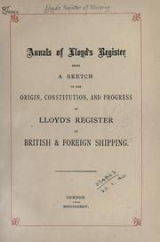 Cover of: Annals of Lloyd's register |