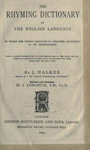 The rhyming dictionary of the English language by Walker, John