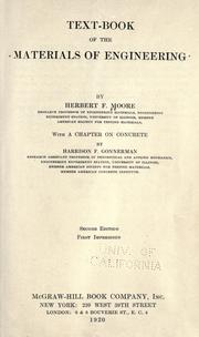 Cover of: Textbook of the materials of engineering
