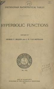 Cover of: Smithsonian mathematical tables: Hyperbolic functions