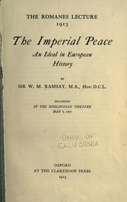 Cover of: The imperial peace: an ideal in European history