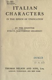 Cover of: Italian characters in the epoch of unification