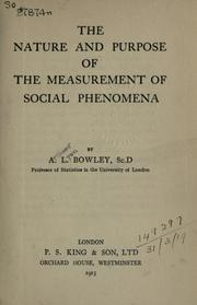 Cover of: The nature and purpose of the measurement of social phenomena