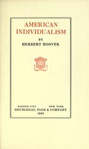 Cover of: American individualism