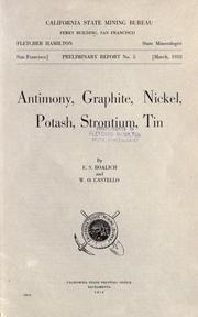 Cover of: Antimony, graphite, nickel, potash, strontium, tin