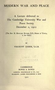 Cover of: Modern war and peace