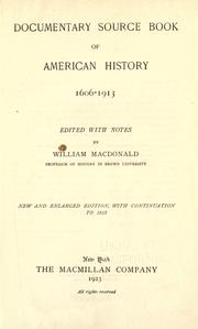 Cover of: Documentary source book of American history, 1606-1913