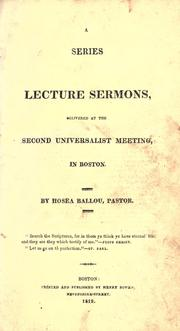 Cover of: A series of lecture sermons