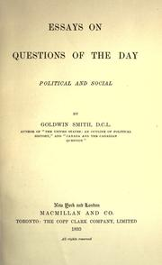 Cover of: Essays on questions of the day, political and social