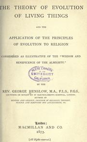 Cover of: The theory of evolution of living things