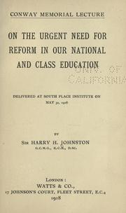 Cover of: On the urgent need for reform in our national and class education