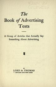 Cover of: The book of advertising tests | Lord & Thomas