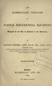 Cover of: An elementary treatise on partial differential equations