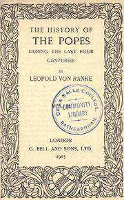 Cover of: The history of the Popes during the last four centuries