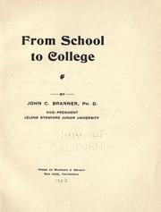 Cover of: From school to college [I]