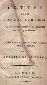 Cover of: A letter from Edmund Burke