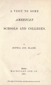 Cover of: A visit to some American schools and colleges