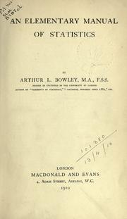 Cover of: An elementary manual of statistics