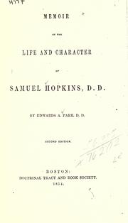 Cover of: Memoir of the life and character of Samuel Hopkins, D.D