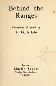 Cover of: Behind the ranges