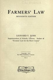 Cover of: Farmers' law