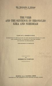 Cover of: The verb and the sentence in Chronicles, Ezra and Nehemiah