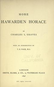 Cover of: More Hawarden Horace