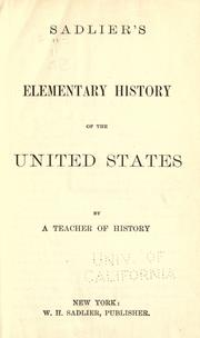 Cover of: Sadlier's elementary history of the United States |