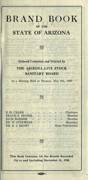 Cover of: Brand book of the state of Arizona by Live Stock Sanitary Board of Arizona.