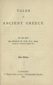 Tales of Ancient Greece by Cox, George W.
