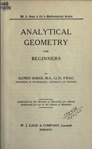 Cover of: Analytical geometry for beginners | Baker, Alfred