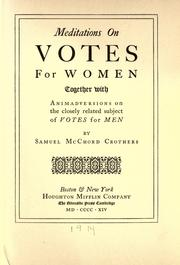 Cover of: Meditations on votes for women