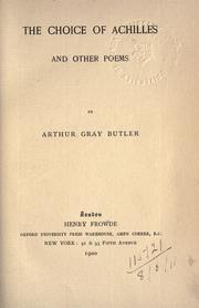 Cover of: The choice of Achilles, and other poems