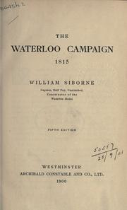 Cover of: The Waterloo campaign, 1815