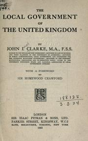 Cover of: The local government of the United Kingdom