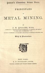 Cover of: Principles ofmetal mining