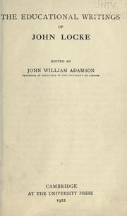 Cover Of The Educational Writings John Locke