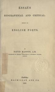 Cover of: Essays biographical and critical, chiefly on English poets