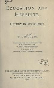 Cover of: Education and heredity