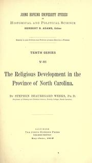 Cover of: The religious development in the province of North Carolina