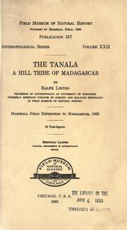 Cover of: The Tanala, a hill tribe of Madagascar