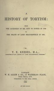 Cover of: A history of Toryism