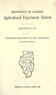 Cover of: Sulfur in relation to soil fertility