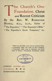 Cover of: The church's one foundation: Christ and recent criticism