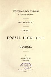 Cover of: Report on the fossil iron ores of Georgia