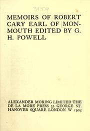 Cover of: Memoirs of Robert Cary, earl of Monmouth