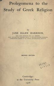 Cover of: Prolegomena to the study of Greek religion. | Jane Ellen Harrison